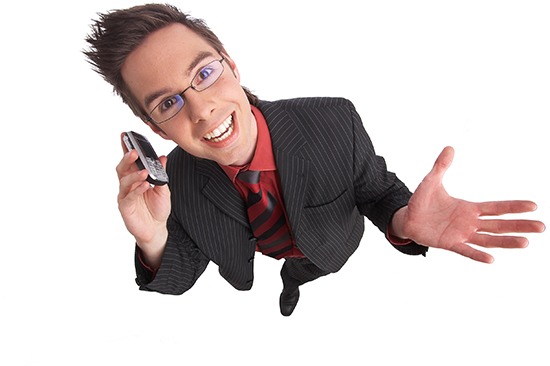 businessman talks on the phone with clipping path included