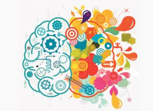 Right brain and left brain of illustrations