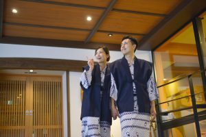 Men and women wearing the yukata