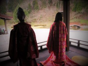 Men and women wearing a kimono of Heian Period