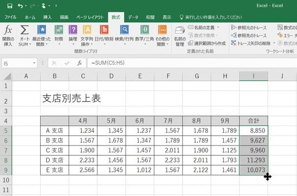 関数がコピーされてA~E支店それぞれの合計が表示されます。