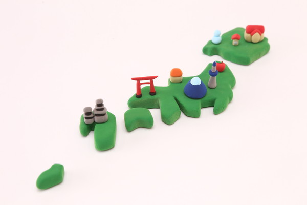 Clay art Japanese map Sightseeing imageクレイアート 日本地図 観光イメージ