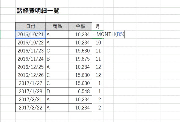 month「 =MONTH(B5) 」