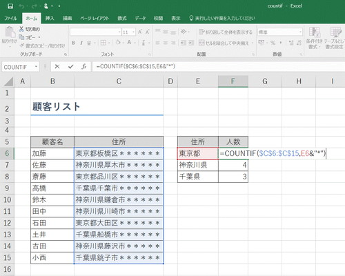【Excel】指定した文字が入っているセルの数を知りたい!~エクセル関数「COUNTIF」(カウントイフ)応用