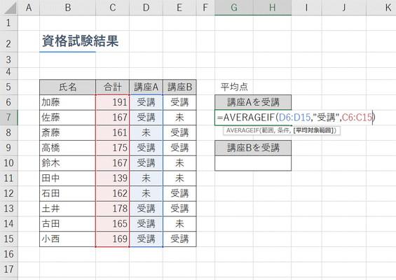【Excel】条件に合うデータの平均を求めたい!~エクセル関数「AVERAGEIF」(アベレージイフ)