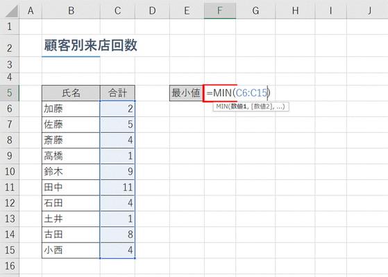 【Excel】顧客来店数や売上などの「最小値」を求めたい!~エクセル関数「MIN」(ミン)