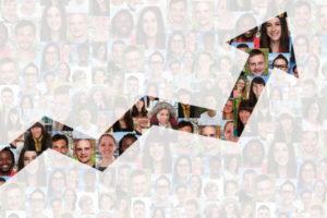 Wachstum mit Erfolg oder erfolgreich Strategie im Business Menschen Leute Gruppe Hintergrund