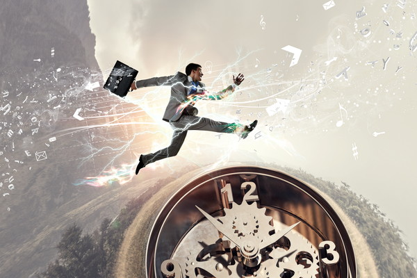 Clock cogwheel mechanism and businessman jumping over it
