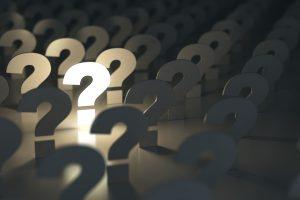 Question marks. Idea or problem concept. 3d